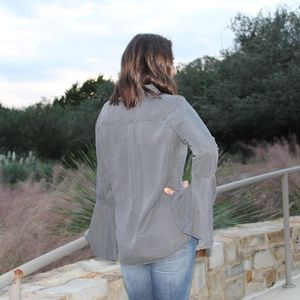 c6288df63 Sneak Peek Tops | Womens Bell Sleeve Buttondown Shirt Gray | Poshmark